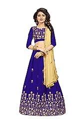 Florence Womens Silk Lehanga Choli (LG024 _Blue_ Free Size)