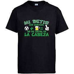 Camiseta Mi Betis sin Cerveza no me entra en la Cabeza - Negro, XL