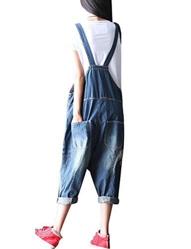 Youlee Frauen Sommer Briefe Gedruckt Big Schrittgurt Lätzchen Jumpsuits Blau