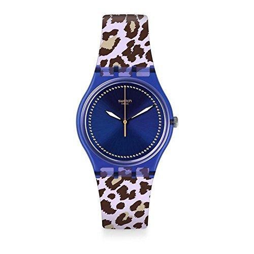 Swatch Unisex Erwachsene Analog Quarz Uhr mit Silikon Armband GV130