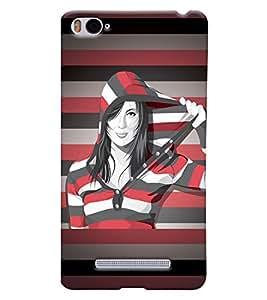 Fuson Multi lines Pattern Girl Back Case Cover for XIAOMI Mi4i - D3880