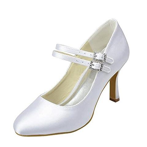 Minitoo Girls Womens Mary Jane Buckle Ivory Satin Bridal Wedding Evening Pumps Shoes UK 6