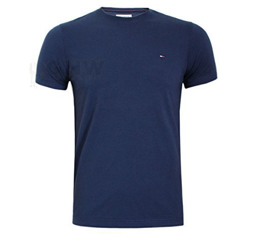 TOMMY HILFIGER DENIM Herren T-Shirt, T-Shirt schwarz, Marineblau, weiß Größe S, M,L,XL,XXL - Marine, L (Lager T-shirt)