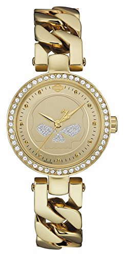 Harley Davidson Womens Gold Tone Strap Gold Dial 78L121