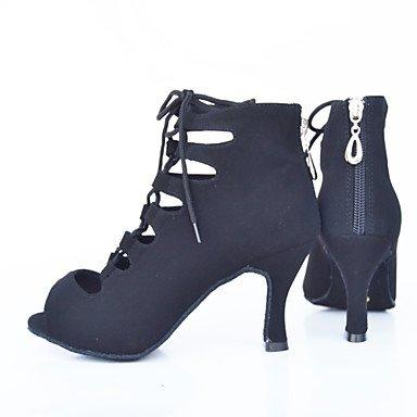 Scarpe da ballo-Personalizzabile-Da donna-Balli latino-americani / Moderno-A stiletto-Vellutato-Nero / Blu / Viola / Rosso Red