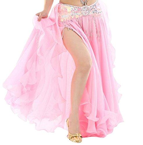 on Einfarbig Professionelle Tänzerin Bauchtanz Spliss Öffnungs Swing Long Rock Tanzkostüm Bauch Dance Kleid Rosa (Nicht inbegriffen ist Gürtel) ()
