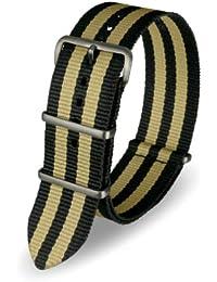 Davis - Bracelet Montre Nato Nylon Noir et Sable 24mm Haute Qualité