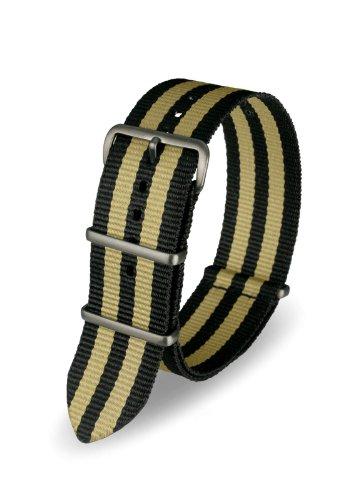 Davis - Cinturino Orologio Nato Nylon Nero | Sabbia 22 mm Alta Qualità