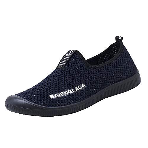 VECDY Herren Schuhe,Weihnachten Geschenke- Herbst Männer Mesh Runde Breathable Flache Turnschuhe Laufschuhe Casual Slip-On Schuhe Lässige Faule Schuhe Turnschuhe schwarz Blau