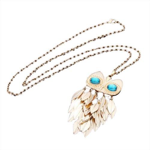 SODIAL(R) Oro Cadena collar largo pendiente de buho Joya de vintage de moda Mezclar y combinar Nuevo