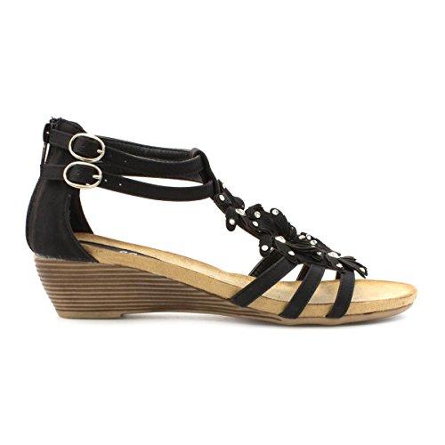 LILLEY Damen schwarz Wedge Sandale mit Blumen Schwarz