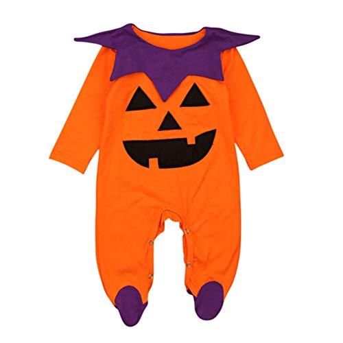 Shiningbaby Halloween-Kürbis-Spielanzug für Baby-Mädchen, Neugeborene Lange Hülsen-Nette