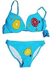 takestop® Costume Reggiseno Ferretto Imbottito Slip Frutta Limone Arancia  Spicchi Payette con codino Colorate Colori 5a1bc8b23aaa