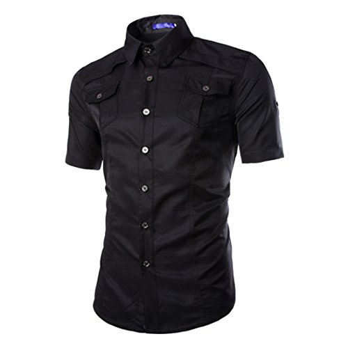 Men's Multi Pocket Short Sleeve Casual Shirts Black