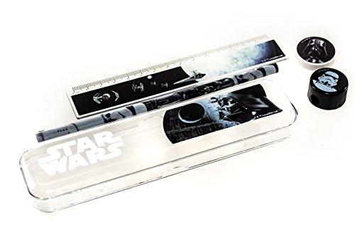 Star Wars Schreibset 5 tlg., Box, Lineal, Bleistift, Spitzer, Radiergummi. Schreibset, Schulschreibset, Schulanfang, Stiftebox, Stiftdose …