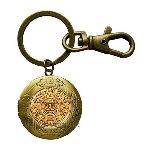 Maya-Kalender Pedant, Maya-Kalender Schmuck, Aztekenkalender Schlüsselanhänger, Maya-Schmuck, Glaskuppel-Schlüsselring, Herren-Schlüsselanhänger MT114 -