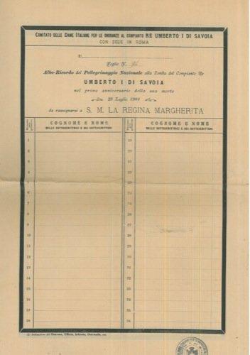 Albo-Ricordo del Pellegrinaggio Nazionale alla Tomba del Compianto Re Umberto I di Savoia nel primo anniversario della sua morte.