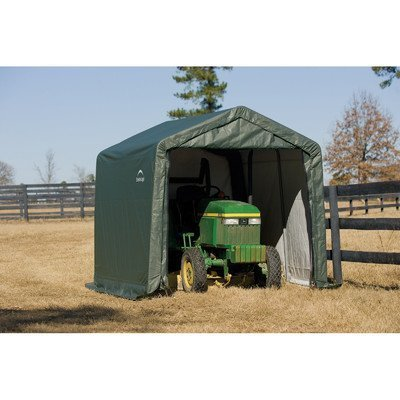 Shelterlogic Outdoor Garage Automotive Boat Car Vehicle Storage Shed 10x8x8 Peak Style Shelter Green Cover by ShelterLogic