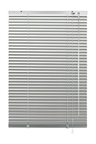 GARDINIA Alu-Jalousie, Sicht-, Licht- und Blendschutz, Wand- und Deckenmontage, Alle Montage-Teile inklusive, Aluminium-Jalousie, Silber, 80 x 130 cm (BxH) - Stahl-oberschiene