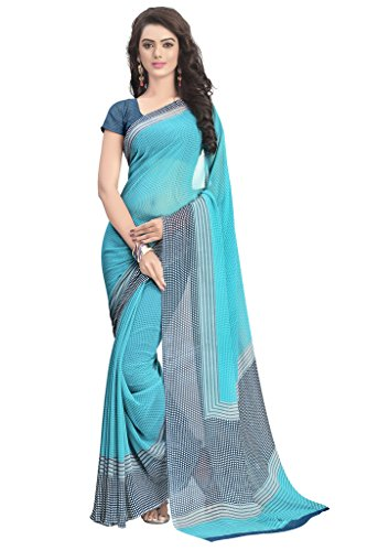 Vaamsi Chiffon Saree with Blouse Piece (RC3208_Blue_One Size)