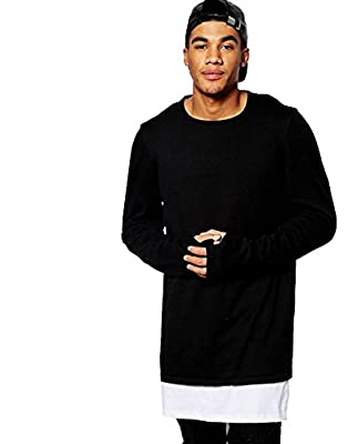 PAUSE Longline Men's Full Sleeve Round Neck Black Cotton T-shirt