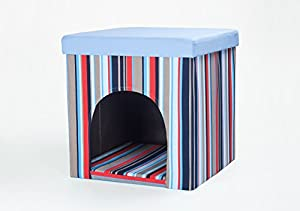 Niche pour chien / chat et tabouret, rayures bleues / multicolores, 50x50x50 cm