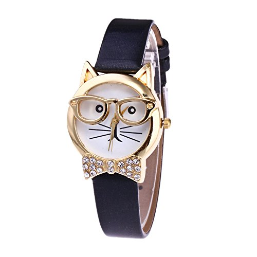 OVERMAL Damen Gläser Katze Analog Quarz Zifferblatt Armbanduhr Uhr (Schwarz)
