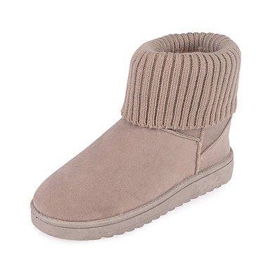Wuyulunbi @ Femmes Chaussures Automne Hiver Bottes De Neige Talon Plat Bout Rond Bottes Pour Casual Gris Noir Rose Rose Brun Us6 / Eu36 / Uk4 / Cn36