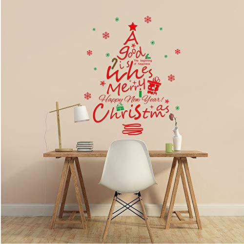 Asade Christmas Window Glass Red Christmas Tree Wall Stickers Removable Decals Mural Decal Removable New Wall Sticker DIY -