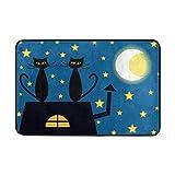 Klotr Fußabtreter, Cartoon Cats The Top of Roof by Night Doormat,Area Rug Rugs Non-Slip Indoor Outdoor Floor Mat Doorma