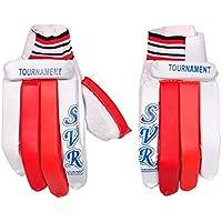 Svr - Guantes de críquet para Hombre, Color Blanco y Rojo, Pack de 2, tamaño Completo, Calidad de Hoja Ligera
