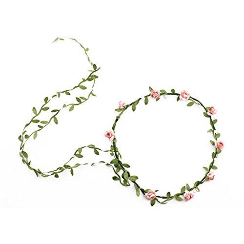 Bandeau-SODIAL(R) Dame Boho Floral Fleurs Festival Mariage guirlande Front Bandeau de cheveux Peche rouge