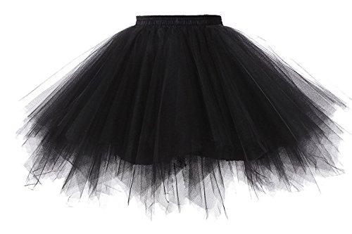 Cystyle Damen Kurz Retro Petticoat Rock Ballett Blase 50er Tutu Ball Kleid Mehrfarbengroß Unterröcke (Einheitsgröße, Schwarz)