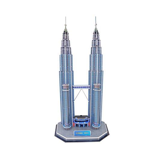 Hochwertige interessante kreative 3D-Magic Puzzle Papiermodelle nach EN71,US ASTM F963,6p und 3C-Qualitätsprüfung,Twin Towers,130 Teile (Twin Towers-puzzle)