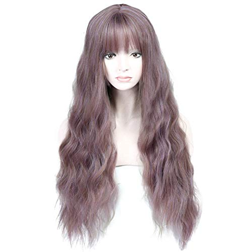 Parrucca da donna lunga miscela viola parrucca resistente al calore sintetico ondulato parrucca per donne