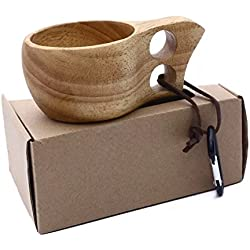 Taza de madera de estilo nórdico, hecha a mano, modelo Kuksa, portátil, para viaje, camping, etc.