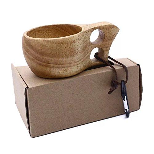 Tazzina kuksa portatile fatta a mano in legno, in stile nordico, per tè o caffè, ideale anche per campeggio diplopore (200ml)