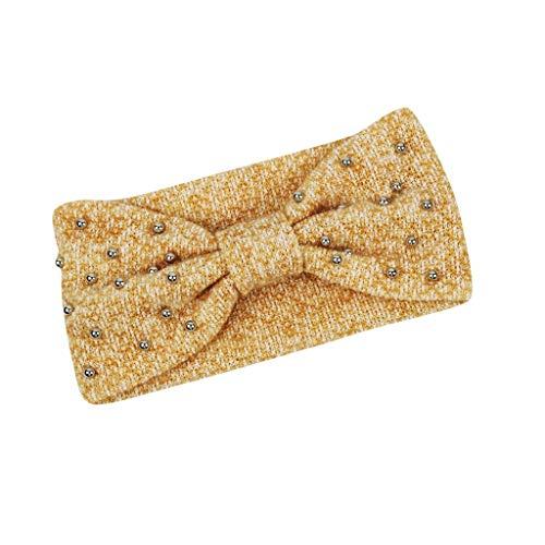 Finebo - fascia per capelli da donna, classica, a forma di croce, con perle, ad arco, con fiocco, per l'inverno d taglia unica