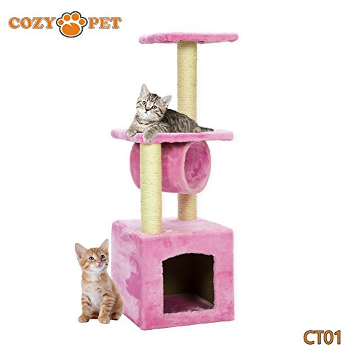 Cozy-Pet-Deluxe-Multi-Level-Cat-Tree-Scratcher-Activity-Centre-Scratching-Post-Toys-Cat-Trees-with-Heavy-Duty-Sisal-in-Beige-Grey-and-Pink
