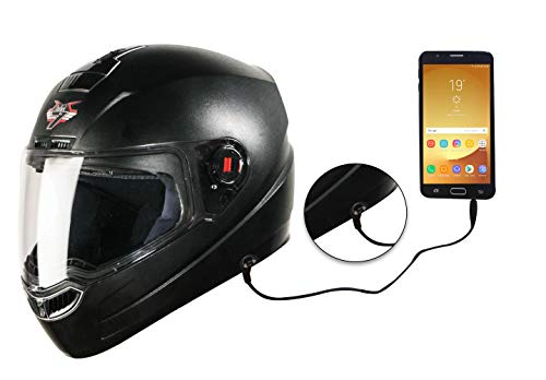 Steelbird SBA-1 7Wings HF Dashing Full Face Helmet with Plain Visor and Detachable Handsfree Device (MEDIUM 580 MM, BLACK)
