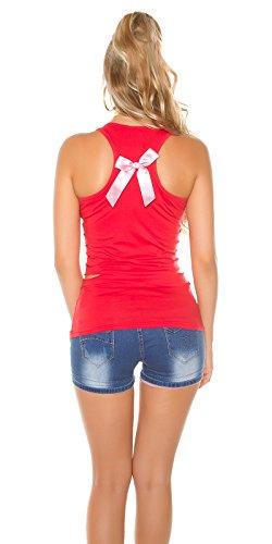 Tank-Top mit Glamour-Schriftzug und Risse Rot