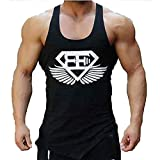 Kecko Men Cotton Herren Tank Top Fitness Stringer Gym Shirt T-Shirt Superman Wings Weste Print Sport Vest Muscleshirt (M, Schwarz)