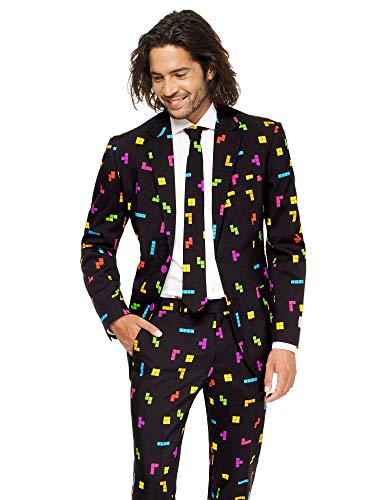 Opposuits Abschlussball kostüme für Herren - Mit Jackett, Hose und Krawatte mit Festlichen - Tetris Kostüm