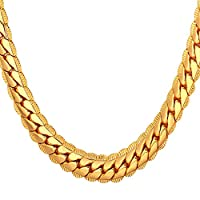 U7 Men's Chain Necklace 18 inches 18K-Gold-Plated(9Mm Wide)