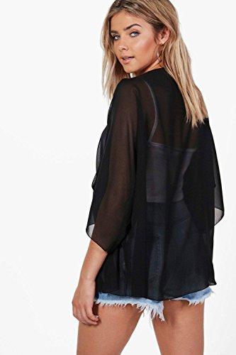Damen Schwarz Emily Kimono Aus Webmaterial Mit Ausgeschnittenen Schultern Schwarz
