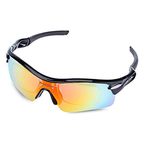 zhang-hongjun,Outdoor Fahrradbrille, Anti-UV-Sonnenbrille mit 5 austauschbaren Gläsern(Color:SCHWARZ UND ROT)