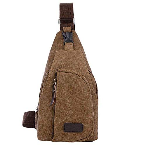Saingace® Hommes garçons occasionnels toile balourd sac bandoulière épaule sports de plein air sac de poitrine (kaki) café