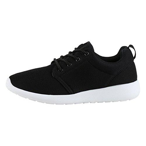 Japado Damen Schuhe Sportschuhe Trendfarben Runners Sneakers Laufschuhe Schwarz Black 36