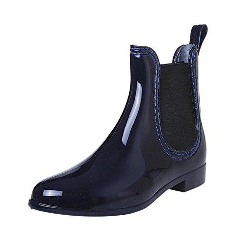 Deylaying Mujer Antideslizante Elástico Martín Botas de Lluvia Impermeables Caucho Invierno Zapatos Tobillo Botas de Lluvia Invierno Botas Agua Zapatos