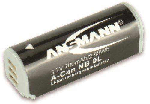 ANSMANN 1400-0011 A-Can NB 9L Li-Ion Digicam Akku 3,7V/700mAh für Canon Foto Digitalkamera